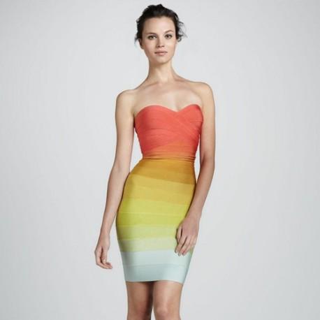 Разноцветное платье Herve Leger