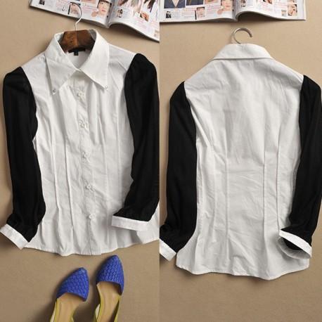 Рубашка с трикотажными рукавами